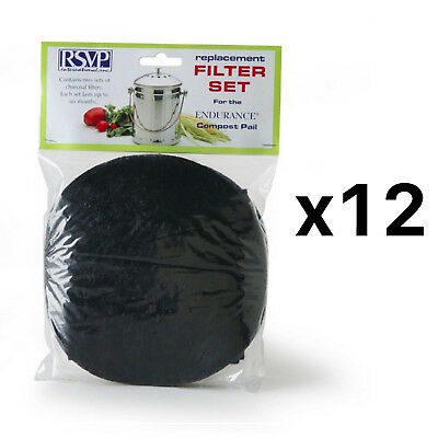 RSVP 2 Replacement Filters Jumbo Compost Pail/Keeper/Bucket FLTR-XL (12-Pack)