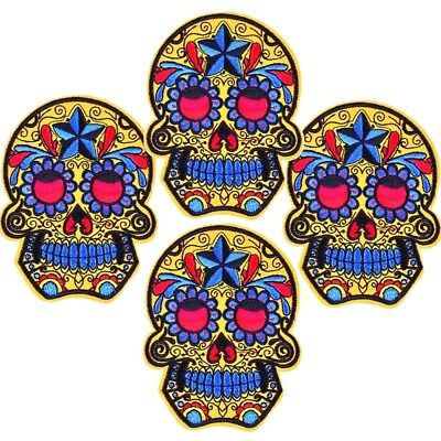 Ecusson patch brodé applique Tête de mort calavera skull iron on 10 cm Emblemen