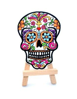 Ecusson brodé tête de mort calavera sugar skull iron on embroidered patch 10 cm