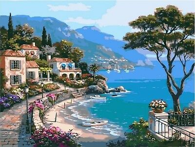 """BLUE SEA VIEW PAINT BY NUMBERS CANVAS OIL PAINTING KIT 20 x 16"""" FRAMELESS"""