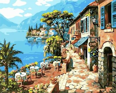 """CAFE AL FRESCO PAINT BY NUMBERS CANVAS PAINTING KIT 20 x 16"""" FRAMELESS LANDSCAPE"""