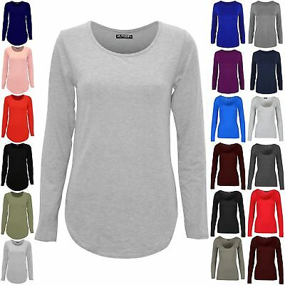 Womens Ladies Plain Casual Long Sleeve Curved Hem Stretchy Jersey T Shirt Top