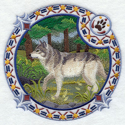 Embroidered Short-Sleeved T-Shirt - Grey Wolf Shield H4347 Sizes S - XXL