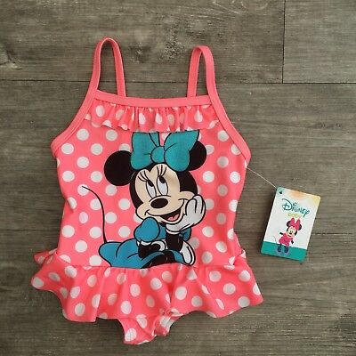 New Disney Baby Girls Primark Minnie Mouse Swimming Costume Swimsuit Age 0-3