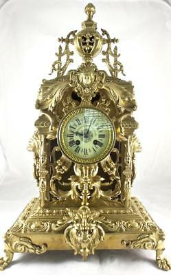 Superb XL Antique 1878 L.P.Japy French Solid Gilt Bronze Mantel / Table clock