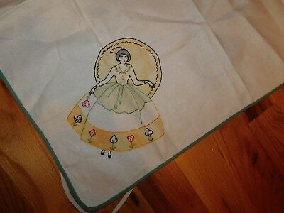 Victorian Lady Card Tablecloth Vogart Style Hand Embroidered Handmade Vintage