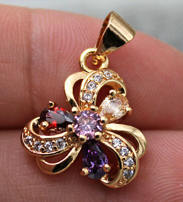 18K Yellow Gold Filled - Hollow Flower Swirl Amethyst Ruby Topaz Party Pendant