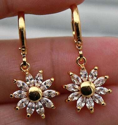 18K Yellow Gold Filled - SunFlower Clear Teardrop Topaz Zircon Party Earrings