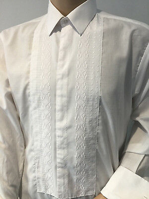 White EMBROIDERED Dress SHIRT Peter England UK Formal TUXEDO 46in x 16.5-17in XL
