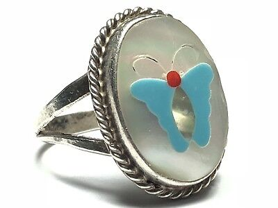 Vintage Ladies Sterling Silver Mother Of Pearl Butterfly Ring - Size 7 - Wow!