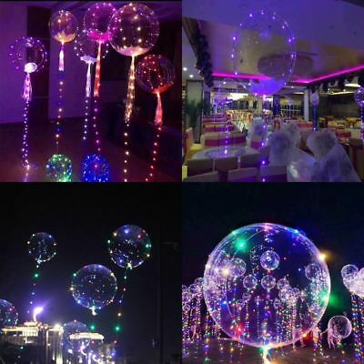 Blue LED Lights Balloon Clear Bubble Helium Balloons Wedding Party Decoration UK