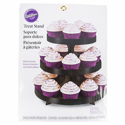 "Wilton Black Dessert Stand/Display 3 Tiered With 1"" Border 24 Treat Capacity New"