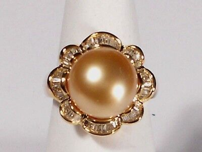 golden South Sea pearl ring,diamonds,solid 14k yellow gold