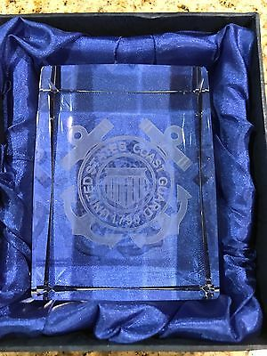 Laser Etched Crystal Paperweight-United States Coast Guard 1790 w/Gift Box