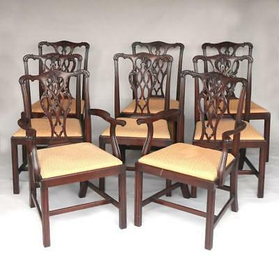Fine Set of Eight Carved Mahogany Chippendale Style Dining Chairs