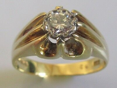 Vintage 18ct Yellow Gold Single Diamond (0.33ct) Extended Claw Set Ring Size S