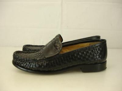 8b3f2beea2a cole haan laurel womens sz 7 B M black woven leather penny loafers shoes  slip-on