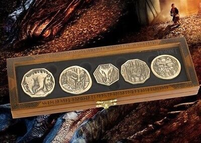 Lotr Hobbit Smaug 5 Gold Coin Prop Replica Set Dragon Treasure + Collectors Case