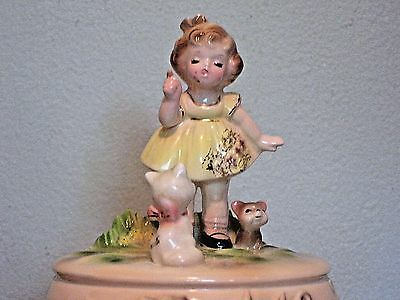 "Vintage Josef Originals Music Box Little Girl with Cat Song ""Pussycat Pussycat"""