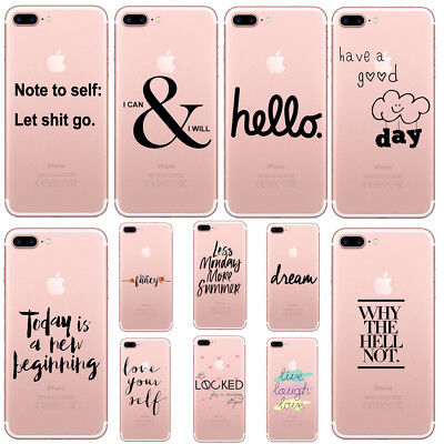 Fashion Funny Letters Clear TPU Soft Phone case cover for iphone 6 6s 7 8 plus X