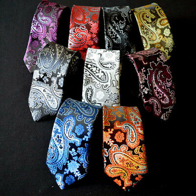 Men Fashion Classic Tie Floral Paisley Skinny Narrow Wedding Party Necktie