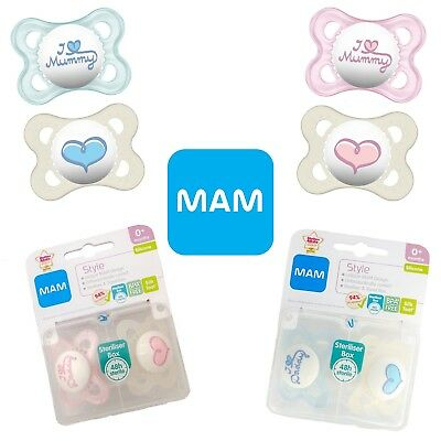 MAM - I Love Mummy / I Love Daddy Soother Twin Pack 0m+ CHOICE OF DESIGN (A96)