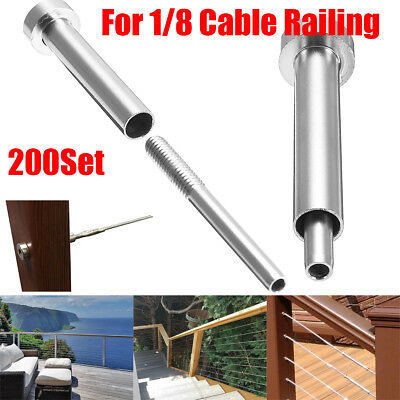 """2~200X Stainless Steel Invisible Receiver Stud Swage End Fitting For 1/8"""" Cable"""
