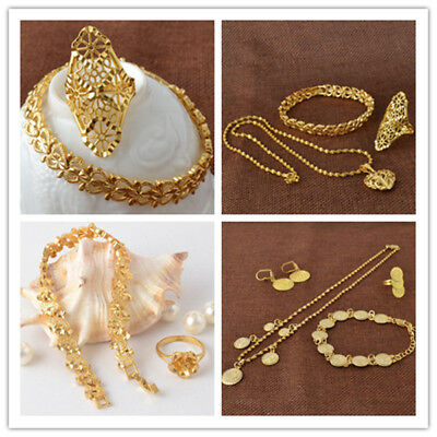 Classical Lady's 18K Gold Filled Necklace Bracelet Ear Rings Jewerly Set
