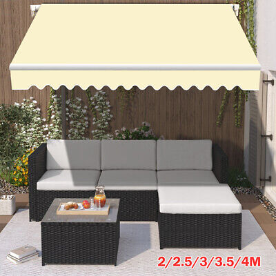 Patio Awning Manual Garden Canopy Sun Shade Retractable Shelter Outdoor Cream