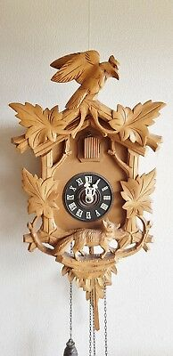 Old Cuckoo Wall Clock West German 2 Weights Gongs On Coil