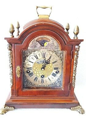 Warmink Mantel Clock Dutch Westminster Quarter Chime 8 Day Nut Wood Moonphase