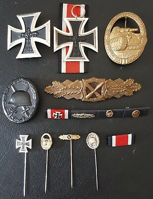 ✚7896✚ German post WW2 1957 pattern veteran medal grouping Iron Cross Panzer