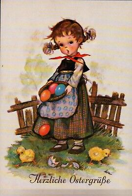 Unused A/S HILDE German Easter Postcard Girl, Colored Eggs CHICKS