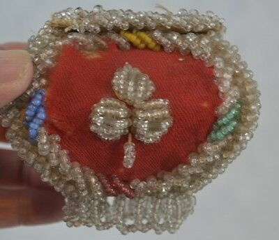 antique Native American Iroquois beaded whimsy sewing pocket purse original 1890