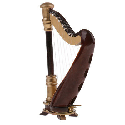 20cm Toy 8-Strings Harp with Box Model for Home Desk Decor Ornaments Gifts