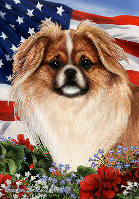 Garden Indoor/Outdoor Patriotic I Flag - Parti Tibetan Spaniel 164761