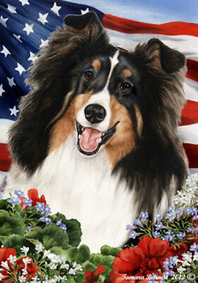 Garden Indoor/Outdoor Patriotic I Flag - Tri Shetland Sheepdog Sheltie 160821