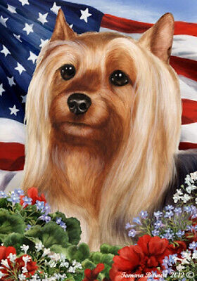 Garden Indoor/Outdoor Patriotic I Flag - Silky Terrier 161021