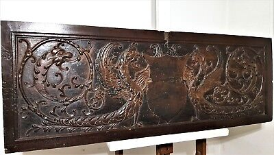 17th HAND CARVED WOOD PANEL ANTIQUE FRENCH GRIFFIN CHIMERA ARCHITECTURAL SALVAGE