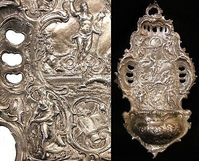 Antique German Repousse 800 Silver Catholic Holy Water Font Cherubs Angels Bible