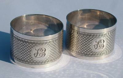 2 x FINE QUALITY HEAVY GRADE STERLING SILVER PAIR OF NAPKIN RINGS HM 1932