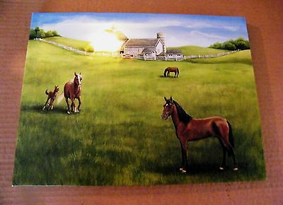 Country Farm HORSE Horses LED Lighted canvas art print picture home decor Sign
