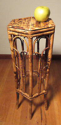 Tortoise Bamboo Plant Stand c1960 With Hexagonal Top Bamboo Legs With Arches