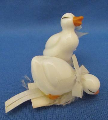Set of 2 Porcelain White Duck Figurines