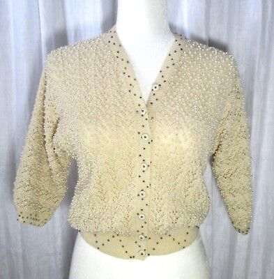 True Vintage Hong Kong Pearl Bead Cropped Cream Lacy Sweater 60's Retro Pinup