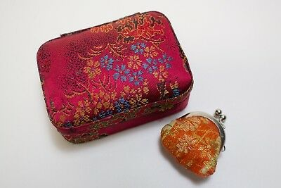 Vintage Red Fabric Covered Floral Trinket Jewelry Box Padded With Purse Sachet