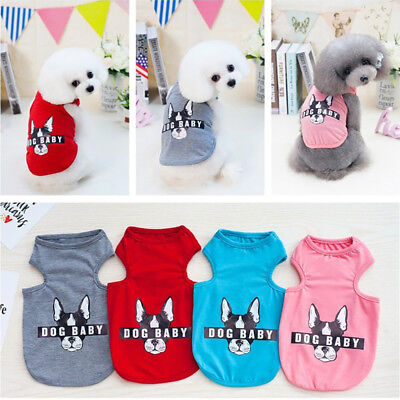 Pet Puppy Baby Dog Cat Small Vest T-shirt Summer Clothes Apparel Costume S-2XL