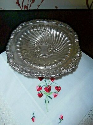 "VINTAGE ENGLISH SILVER PLATED BON BON DISH ~ ROCOCO DESIGN ~  6"" square"