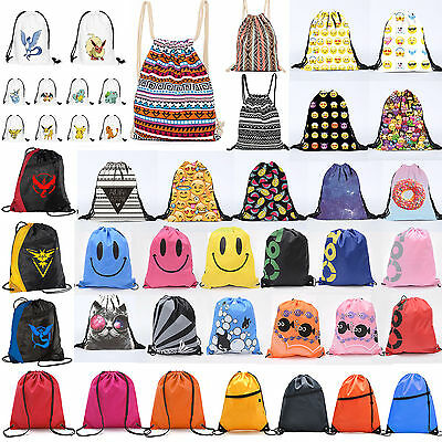 Drawstring Gym Sports Bag Rucksack School Swimming Travel Kids PE Shoes Backpack