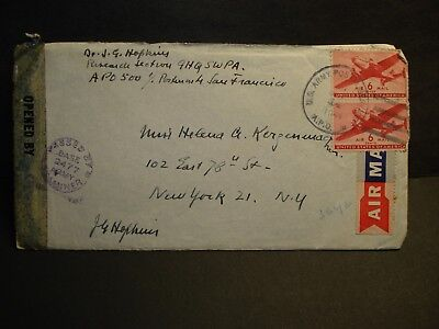 APO 500 BRISBANE AUSTRALIA or NEW GUINEA 1944 Censored WWII Army Cover w/ letter